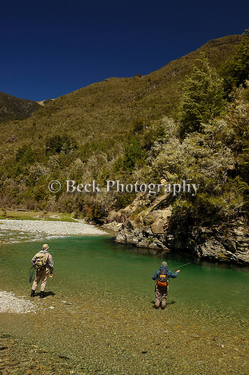 Fly fishing at Rotoroa Lodge, New Zealand.