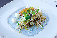 Vienna, Austria. Steirereck breakfast at the Meierei im Stadtpark.<br /> Saiblings&ndash;Tatare mit Sprossensalat (Char Tartare with Bean Sprouts and Black Radish)