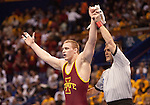 March 21 2009      Jake Varner of Iowa State reacts after winning the 197 pound weight class after defeating Craig Brester of Nebraska (not shown) in the championship round of the NCAA Division I  Wrestling Championships which were held March 19 through March 21, 2009 at the Scottrade Center in downtown St. Louis, Missouri...         *******EDITORIAL USE ONLY*******