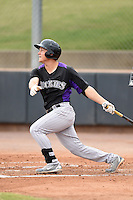 Colorado Rockies third baseman Patrick Valaika (23) during an Instructional League game against the Arizona Diamondbacks on October 8, 2014 at Salt River Fields at Talking Stick in Scottsdale, Arizona.  (Mike Janes/Four Seam Images)