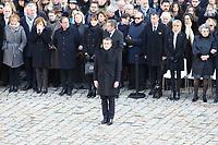 Le President de la Republique Emmanuel Macron - Hommage National ‡ JEAN D'ORMESSON - 08/12/2017 - Hotel des Invalides - Paris - France
