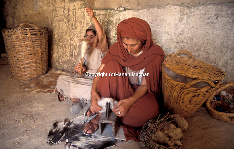 Israel, Galilee, Nazareth Village, recreating Nazareth in the time of Jesus, spinning yarn