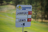 Scoreboard during the third round of the Kazakhstan Open presented by ERG played at Zhailjau Golf Resort, Almaty, Kazakhstan. 15/09/2018<br /> Picture: Golffile | Phil Inglis<br /> <br /> All photo usage must carry mandatory copyright credit (&copy; Golffile | Phil Inglis)