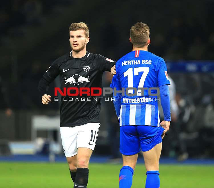 03.11.2018, OLympiastadion, Berlin, GER, DFL, 1.FBL, Hertha BSC VS. RB Leipzig, <br /> DFL  regulations prohibit any use of photographs as image sequences and/or quasi-video<br /> <br /> im Bild Maximilian Mittelstaedt (Hertha BSC Berlin #17), Timo Werner (RB Leipzig #11)<br /> <br />       <br /> Foto © nordphoto / Engler
