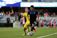 SAN JOSE, CA - AUGUST 03: Pedro Santos, Nick Lima  during a Major League Soccer (MLS) match between the San Jose Earthquakes and the Columbus Crew on August 03, 2019 at Avaya Stadium in San Jose, California.