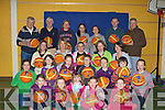 BOUNCING: Bouncing basketballs in the Balloonagh School Gym on Saturday were children from Tralee with their parents to raise funds for the Irish Basketball assocviation of Ireland and Schools around Kerry.Robyn Cahill, Canes Curran, Grace Cahill, Sinead Coleman and Ava McCarthy. 2nd row l-r: Aoife Coleman, Ruth Cahill, Cormac O'Brien, Katie Murphy, Cillian Ryan and Avril Connelly 3rd row l-r: Seonha Ryan, Les Galvin, Nora Ann O'Callaghan, Norma Cahill and Margaret Coleman. Backl row l-r: Paddy Garvey, Jim Maher, Josephine Cahill, Rebecca Ryan, Mary Murphy, Pa Curran and Tom Moore....