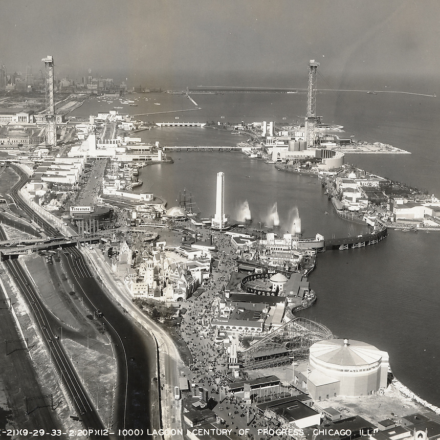 Aerial view of Northerly Island and lagoon at the Century of Progress International Exposition world's fair, Chicago, Illinois, September 9, 1933.