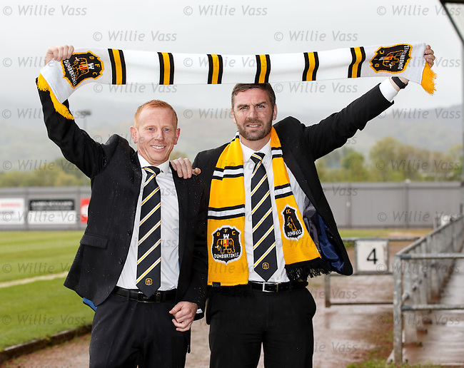Stephen Aitken and his no 2 Stephen Farrell unveiled as the new management team at Dumbarton this afternoon