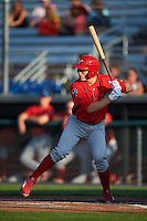 Williamsport Crosscutters catcher Henri Lartigue (40) at bat during a game against the Auburn Doubledays on June 25, 2016 at Falcon Park in Auburn, New York.  Auburn defeated Williamsport 5-4.  (Mike Janes/Four Seam Images)