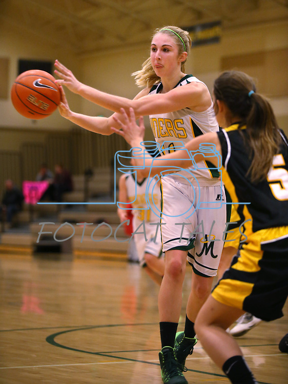 Manogue's Brianna Holt competes against Galena's Josie Peck at Manogue High School in Reno, Nev., on Tuesday, Feb. 11, 2014. Manogue won 51-29.<br /> Photo by Cathleen Allison