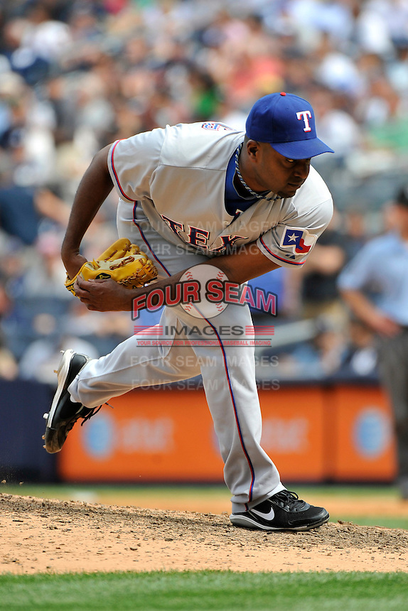 Texas Rangers pitcher Darren Oliver #28 during a game against the New York Yankees at Yankee Stadium on June 16, 2011 in Bronx, NY.  Yankees defeated Rangers 3-2.  Tomasso DeRosa/Four Seam Images