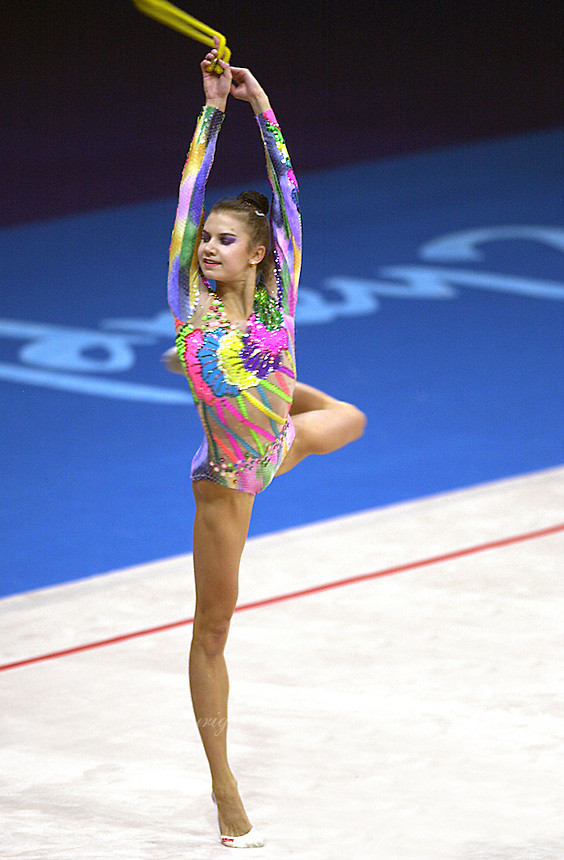 Sep 28, 2000; SYDNEY, AUSTRALIA:<br /> Yulia Raskina of Belarus performs with rope during rhythmic gymnastics qualifying at 2000 Summer Olympics. Yulia took silver medal at Sydney.