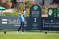 Maximilian Kieffer (GER) on the 1st during Round 4 of the Saudi International at the Royal Greens Golf and Country Club, King Abdullah Economic City, Saudi Arabia. 02/02/2020<br /> Picture: Golffile | Thos Caffrey<br /> <br /> <br /> All photo usage must carry mandatory copyright credit (© Golffile | Thos Caffrey)