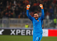 Roma s goalkeeper Alisson celebrates at the end of the Uefa Champions League round of 16 second leg soccer match between Roma and Shakhtar Donetsk at Rome's Olympic stadium, March 13, 2018. Roma won. 1-0 to join the quarter finals.<br /> UPDATE IMAGES PRESS/Riccardo De Luca