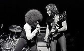 "The Dictators - vocalist Richard Manitoba and lead guitarist Ross ""The Boss"" Friedman - performing live at the Roundhouse in London UK - 02 Nov 1977.  Photo credit: George Bodnar Archive/IconicPix"