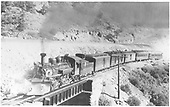#479 with 5 car consist crossing Poncha Creek.<br /> D&amp;RGW  Poncha Pass, CO