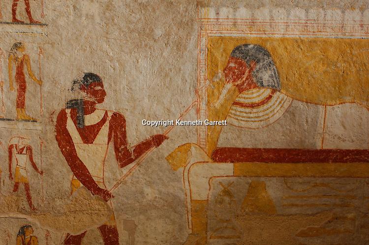 Tomb chamber and painting details, Queen Qalhata, tomb paintings,  Black Pharaohs, Nubians, Sudan, El Kurru, cemetery, Piye,Pharaoh Tamwetamani, last Nubian king,Late Period