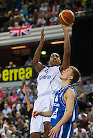 20 AUG 2014 - LONDON, GBR - Kieron Achara (GBR) (left) from Great Britain shoots during the men's 2015 EuroBasket 3rd Qualifying Round game against Iceland at the Copper Box Arena in the Queen Elizabeth Olympic Park in Stratford, London, Great Britain (PHOTO COPYRIGHT © 2014 NIGEL FARROW, ALL RIGHTS RESERVED)