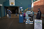 Lottery tickets on sale inside the stadium before Greenock Morton take on Stranraer in a Scottish League One match at Cappielow Park, Greenock. The match was between the top two teams in Scotland's third tier, with Morton winning by two goals to nil. The attendance was 1,921, above average for Morton's games during the 2014-15 season so far.
