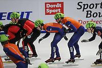 SCHAATSEN: DORDRECHT: Sportboulevard, Korean Air ISU World Cup Finale, 11-02-2012, Relay Men, Robert Seifert GER (31), Sjinkie Knegt NED (62), Niels Kerstholt NED (61), ©foto: Martin de Jong