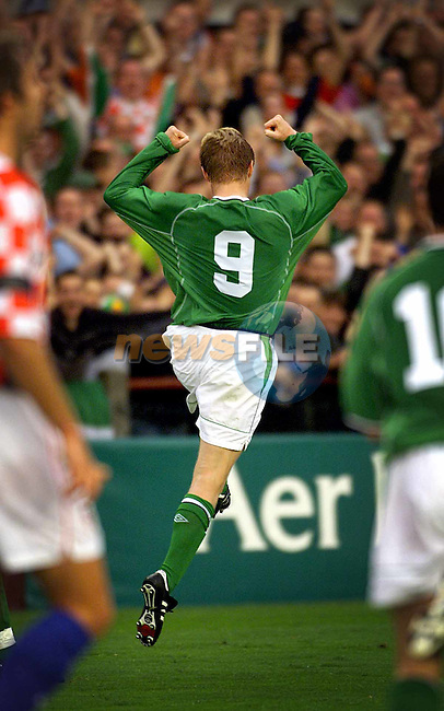 Ireland's Damien Duff celebrates after scoring Ireland's first goal against Crotia in thier friendly game at Lansdowne Road, Dublin..Picture: Paul Mohan/Newsfile