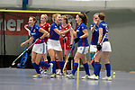 Mannheim, Germany, January 07: During the 1. Bundesliga Damen Hallensaison 2017/18 Sued  hockey match between Mannheimer HC (blue) and Nuernberger HTC (red) on January 7, 2018 at Irma-Roechling-Halle in Mannheim, Germany. Final score 8-1 (HT 5-1). (Photo by Dirk Markgraf / www.265-images.com) *** Local caption *** (L-R) Cecile Pieper #3 of Mannheimer HC Camille Nobis #8 of Mannheimer HC, Nadine Kanler #4 of Mannheimer HC, Lydia Haase #12 of Mannheimer HC, Sophia Willig #9 of Mannheimer HC