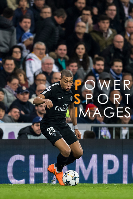 Kylian Mbappe of Paris Saint Germain in action during the UEFA Champions League 2017-18 Round of 16 (1st leg) match between Real Madrid vs Paris Saint Germain at Estadio Santiago Bernabeu on February 14 2018 in Madrid, Spain. Photo by Diego Souto / Power Sport Images