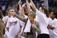 31 March 2008: Assistant coach Kate Paye during Stanford's 98-87 win over the University of Maryland in the elite eight game of the NCAA Division 1 Women's Basketball Championship in Spokane, WA.