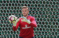 Goalkeeper Jack Butland (Stoke City) of England who will play the 2nd half in tomorrows match warms up during an open England football team training session at Stade Omnisport, Croissy sur Seine, France  on 12 June 2017 ahead of England's friendly International game against France on 13 June 2017. Photo by David Horn/PRiME Media Images.