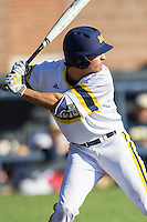 Michigan Wolverines outfielder Cody Bruder (3) at bat against the Central Michigan Chippewas on March 29, 2016 at Ray Fisher Stadium in Ann Arbor, Michigan. Michigan defeated Central Michigan 9-7. (Andrew Woolley/Four Seam Images)