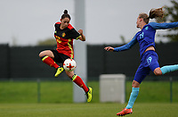 20170914 - TUBIZE ,  BELGIUM : Belgian Lola Wajnblum (left) pictured going past Dutch Michaele Van Den Bulk (r) during the friendly female soccer game between the Belgian Red Flames and European Champion The Netherlands , a friendly game in the preparation for the World Championship qualification round for France 2019, Thurssday 14 th September 2017 at Euro 2000 Center in Tubize , Belgium. PHOTO SPORTPIX.BE | DAVID CATRY