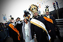 The Zulu Social Aid and Pleasure Club's Queen Dominique Felder and her father King Jimmie Felder kick off Lundi Gras celebration on the river front in New Orleans, Monday, Feb. 15, 2010...(AP Photo/Cheryl Gerber