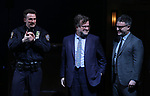 Chris Evans, Kenneth Lonergan and Trip Cullman during the the Broadway Opening Night Performance curtain call for 'Lobby Hero' at The Hayes Theatre on March 26, 2018 in New York City.