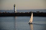 Sailing FD in Santa Cruz Harbor.  Walton Lighthouse