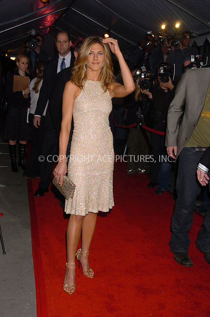 WWW.ACEPIXS.COM . . . . .  ....October 30 2005, New York City....Jennifer Aniston arriving at the New York Premiere of 'Derailed' at the Loews Lincoln Centre Theatre.......Please byline: AJ Sokalner - ACE PICTURES..... *** ***..Ace Pictures, Inc:  ..Craig Ashby (212) 243-8787..e-mail: picturedesk@acepixs.com..web: http://www.acepixs.com