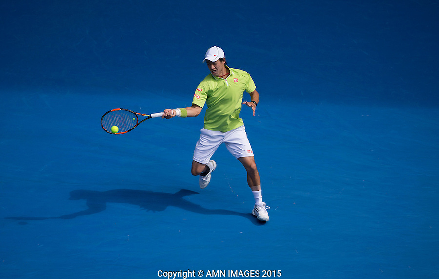 KEI NISHIKORI (JPN)<br /> <br />  - Australian Open 2015 - Grand Slam -  Melbourne Park - Melbourne - Victoria - Australia  - 28 January 2015. <br /> &copy; AMN IMAGES