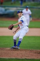 Zach Hartman (26) of the Ogden Raptors delivers a pitch to the plate against the Great Falls Voyagers at Lindquist Field on September 14, 2017 in Ogden, Utah. The Raptors defeated the Voyagers 7-4 in Game One of the Pioneer League Championship. (Stephen Smith/Four Seam Images)