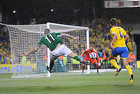 6th September 2013; James McClean, Ireland, strikes the ball accross the goal. 2014 FIFA World Cup Qualifier, Group C,  Republic of Ireland v Sweden, Aviva Stadium, Dublin. Picture credit: Tommy Grealy/actionshots.ie.