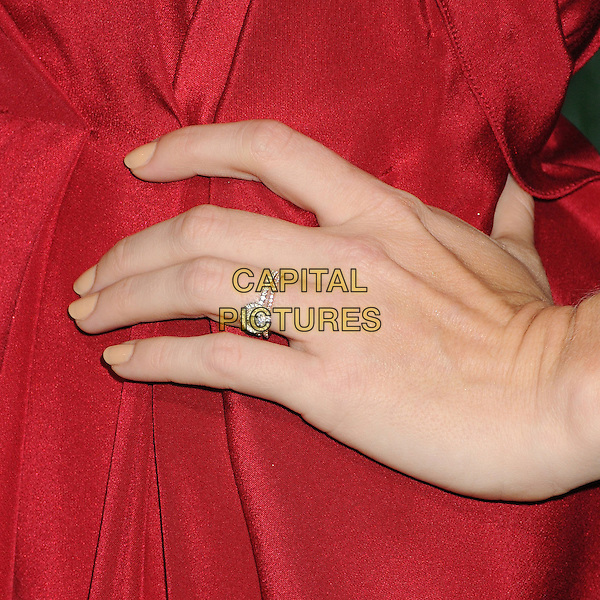 """Amy Adams' ring.""""Trouble With The Curve"""" Los Angeles Premiere held at the Regency Village Theatre, Westwood, California, USA..September 19th, 2012.hand on hip diamond ring engagement jewellery jewelry red nude nail varnish polish detail.CAP/ADM/BP.©Byron Purvis/AdMedia/Capital Pictures."""