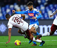 29th February 2020; Stadio San Paolo, Naples, Campania, Italy; Serie A Football, Napoli versus Torino; Lorenzo Insigne of Napoli challenges Bremer of Torino FC