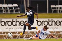 Sky Blue FC forward Danesha Adams (9) jumps over Boston Breakers defender Maddy Evans (18). Sky Blue FC defeated the Boston Breakers 5-1 during a National Women's Soccer League (NWSL) match at Yurcak Field in Piscataway, NJ, on June 1, 2013.