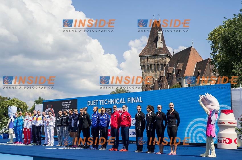 Team presentation<br /> Synchronised swimming , Synchro<br /> Duet tecnhical final<br /> 16/07/2017 <br /> XVII FINA World Championships Aquatics<br /> City Park - Varosliget Lake<br /> Photo @ Giorgio Perottino/Deepbluemedia/Insidefoto