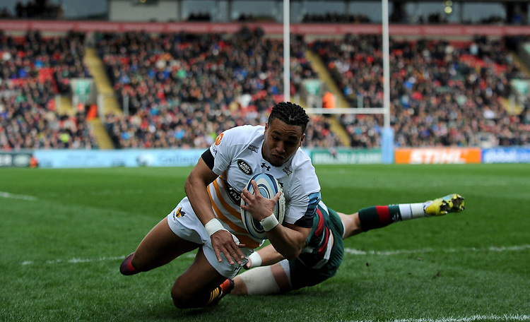 Wasps' Marcus Watson scores his side's first try<br /> <br /> Photographer Hannah Fountain/CameraSport<br /> <br /> Gallagher Premiership - Leicester Tigers v Wasps - Saturday 2nd March 2019 - Welford Road - Leicester<br /> <br /> World Copyright © 2019 CameraSport. All rights reserved. 43 Linden Ave. Countesthorpe. Leicester. England. LE8 5PG - Tel: +44 (0) 116 277 4147 - admin@camerasport.com - www.camerasport.com