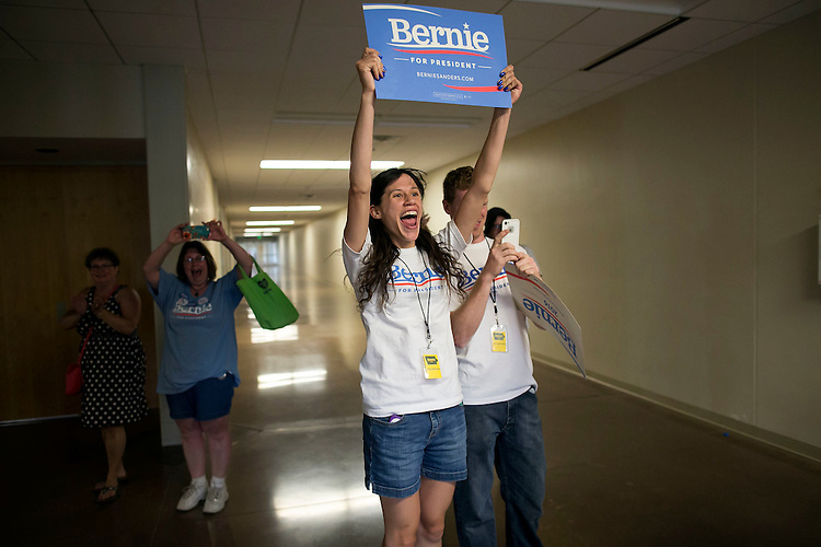 "UNITED STATES - August 16: Campaign volunteers cheer as Sen. Bernie Sanders, D-Vt., arrives to speak at the Loras College Athletic and Wellness Center in Dubuque, Iowa, on Sunday, August 16, 2015. The ""town meeting,"" was the fourth campaign event of the day for Sanders. (Photo By Al Drago/CQ Roll Call)"