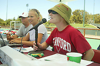 30 August 2005: Stanford field hockey SID Jeane Goff and Kyle Mcrae during  Stanfords' 5-1 loss to Delaware at the Varsity Turf Field in Stanford, CA.