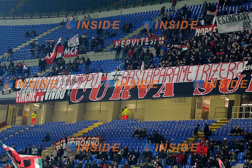 Striscione contestazione tifosi Milan contro Adriano Galliani<br /> Milano 27-01-2015 Stadio Giuseppe Meazza - Football Calcio Coppa Italia Milan - Lazio. Foto Giuseppe Celeste / Insidefoto
