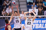 07 MAY: Branden Sander (15) and Michael Hatch (23) of Brigham Young University both go up to defend a shot against Ohio State University game at the Division I Men's Volleyball Championship held at Rec Hall on the Penn State University campus in University Park, PA. Ohio State defeated BYU 3-1 for the national title. Ben Solomon/NCAA Photos