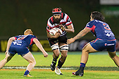 Matiaha Martin makes a run at Finley Christie and Tyrel Lomax. Mitre 10 Cup game between Counties Manukau Steelers and Tasman Mako's, played at ECOLight Stadium Pukekohe on Saturday October 14th 2017. Counties Manukau won the game 52 - 30 after trailing 22 - 19 at halftime. <br /> Photo by Richard Spranger.