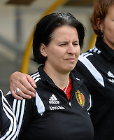 20150523 - SINT-TRUIDEN ,  BELGIUM : Belgian Assistant coach Tamara Cassimon pictured during the friendly soccer game between the Belgian Red Flames and Norway, a preparation game for Norway for the Women's 2015 World Cup, Saturday 23 May 2015 at Staaien in Sint-Truiden , Belgium. PHOTO DAVID CATRY