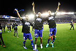 Deportivo Alaves' Victor Camarasa, Deyverson Silva and Zouhair Feddal celebrate the victory in the Spanish Kings Cup semifinal. February 08,2017. (ALTERPHOTOS/Acero)
